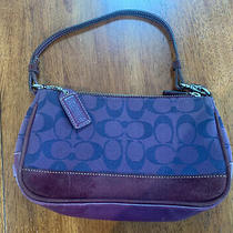 Coach Purple and Maroon Canvas and Leather Purse Clutch  Signature C G04j-6094 Photo