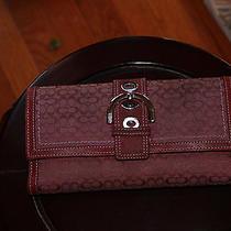 Coach Purple Canvas Purple Leather Trim Wallet Photo