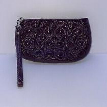 Coach Purple Embossed C Logo Liquid Gloss Leather Wristlet Clutch Purse Bag Photo