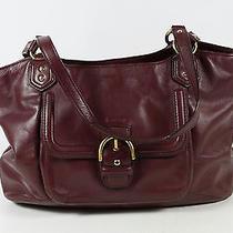 Coach Purple Leather Campbell Belle Carry All Tote Bag Photo