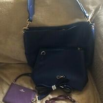 Coach Purple Leather Wristlet Blue Purse Purple Leather Purse Cherry Coin Purse Photo