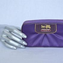 Coach Purple Pleated Satin Wallet Clutch Zipper Small Bag Handbag Purse Wristlet Photo