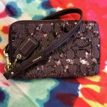 Coach Purple Sequin Wristlet North South Universal Pouch Case Rare Color Photo