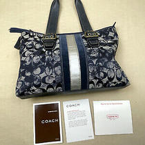 Coach Purse 2181 Tie Dye Navy Blue Logo Ltd. Edition Slim Tote Photo