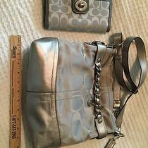 Coach Purse and Wallet Grey/silver Photo