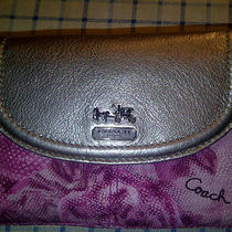 Coach Purse Authentic Signature Wallet Coach 47747 Madison Floral Pink Silver Photo