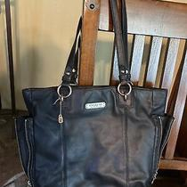 Coach Purse Beautiful Perfect Black Leather Large Shoulder Handbag  Photo