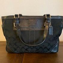 Coach Purse Black Canvas C Handbag W/ Teal Accents & Liner Pre-Owned Guc Photo