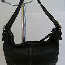 Coach Purse Black Leather Bag Crescent Style Awesome Condition Pd 239 Photo