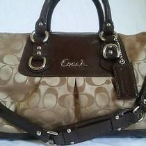 Coach Purse Brown Ashley Bag Brown Satin Medium Large Satchel Photo