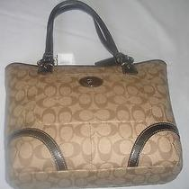 Coach Purse Brown Vinyl With Black Trim New With Original Tags Photo