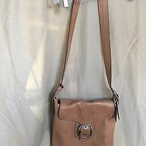 Coach Purse Crossbody Tan Leather  Buckle on Front Adjustable Messenger Photo