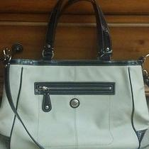 Coach Purse F14887 Signature Laura Satchel- Cream and Navy Beautiful  Photo