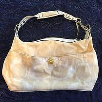 Coach Purse Gold Canvas With White Trim Photo