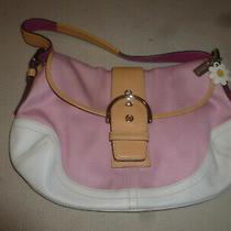 Coach Purse Handbag L04q-1816 Bag Pink White Canvas Hampton Leather Daisy Buckle Photo