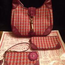 Coach Purse Houndstooth Wool Leather Suede Pink Flower wallet& Wristlet 3pc Set Photo
