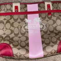 Coach Purse Leatherware Hot Pink and Brown Coach Purse Photo
