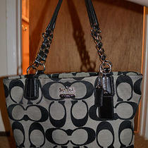 Coach Purse Madison Tote Bag (Silver/black) Photo
