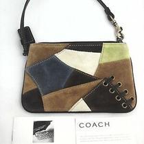Coach Purse Mini Bag Boho Patchwork Suede Brown/blue Wristlet Wallet Clutch Mint Photo