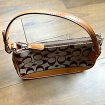 Coach Purse Small Clutch Short Shoulder Strap Logo Fabric Brown and Tan Leather Photo