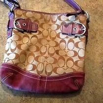 Coach Purse-Tan and Plum Suede-Pre-Owned Photo
