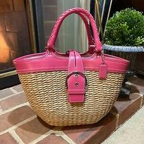 Coach Purse Used Great Shape Lining Great Leather & Straw Pink Wonderful Looks  Photo
