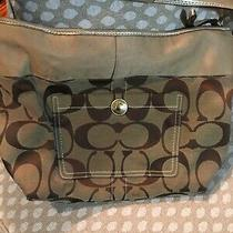 Coach Purse Used Large Brown Traditional C. Gold Trim Photo