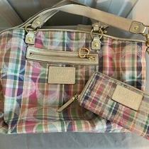 Coach Purse & Wallet Set - Pastel Pink/blue/yellow/green - Pre Owned Photo