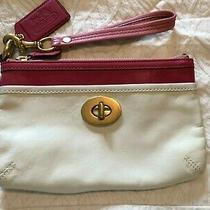 Coach  Purse Wristlet Pink & White Leather  Zipper Clutch Purse Photo