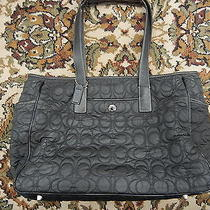 Coach Quilted Black Signature Diaper Bag Tote Bag Purse Pre Owned Well Used Photo