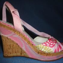 Coach 'Rachel' Pink Floral Print Fabric & Cork Wedge Wrap Strap Heels 7.5 B Photo