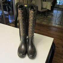 Coach Rain Boots Tristee Signature Logo Laced Size 5 Worn Once Brown Photo