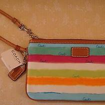Coach Rainbow Watercolor Multi Color Hamptons Wristlet Brand New With Tags Photo