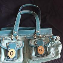 Coach Rare Authentic Legacy Teal Turquiose Patent Leather Purse Bag Photo