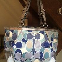 Coach Rare Blue Gray Scarf Signature Pocket Tote Bag F18427 Photo