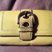 Coach Rare Chartreuse Green Buckle Clutch Leather Wallet Vintage Photo
