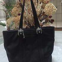 Coach Rare Hamptons Black Leather  Tote Purse Bag 11202 Euc Photo