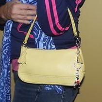 Coach Rare Yellow Pebble Grain Small Purse With Strap Converts to Large Wristlet Photo