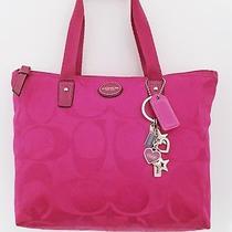 Coach Raspberry Signature Nylon Small Weekender Bag Purse/coach Logo Key Ring Photo