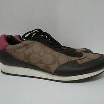 Coach Rebecca Signature Sneakers Logo Pink Brown Size 9b Photo
