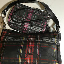 Coach red&black Tartan Plaid Glitter Top Handle Baguette Bag & Wristlet Photo