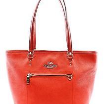 Coach Red Crossgrain Leather Town Car Medium Handbag Tote Purse 350 010- Photo