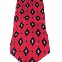Coach Red  Diamond Pattern  Handsome  Italian Woven  Silk Neck Tie Photo