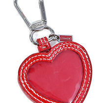 Coach Red Heart Leather  Picture Frame Key Ring Holder New Photo
