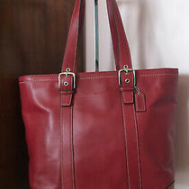 Coach Red Hml Book Tote Bag in Cowhide Leather Photo