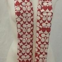 Coach Red Ivory Silk Scarf (60 X 10) With Red Hearts Photo