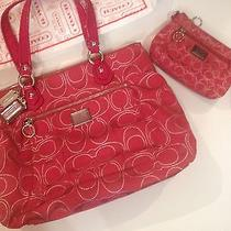 Coach Red Large Handbag and Matching Larger Style Wristlet Vguc Love Holidays Photo
