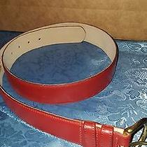 Coach Red Leather Belt Solid Brass Buckle Size L Excellent Condition Photo