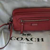 Coach Red Leather Double Corner Zip Wallet Clutch Wristlet Phone Clutch Bag Photo