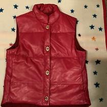 Coach Red Leather Puffer Vest Size Medium New W/o Tags Photo